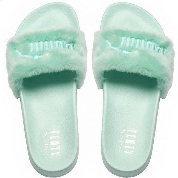 NWT Rihanna Fenty Adidas Slides Bay Green NWT
